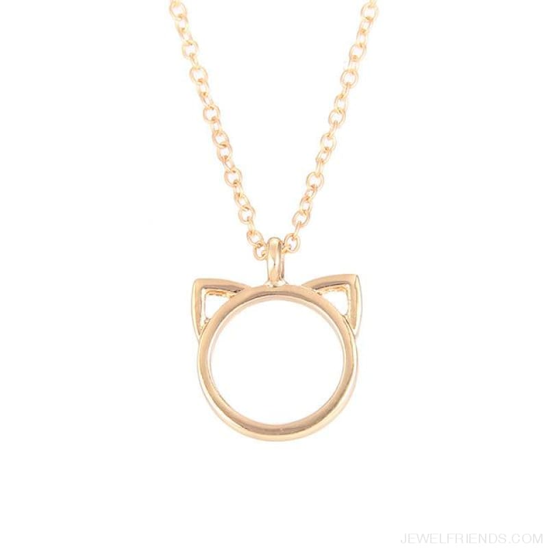 Purrfection Cat Shape Circle Necklace - Gold No Card - Custom Made | Free Shipping