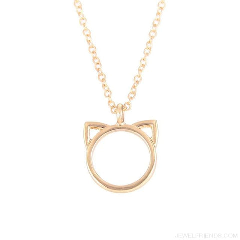 Image of Purrfection Cat Shape Circle Necklace - Gold No Card - Custom Made | Free Shipping