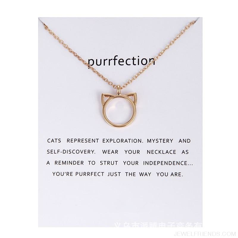 Purrfection Cat Shape Circle Necklace - Custom Made | Free Shipping
