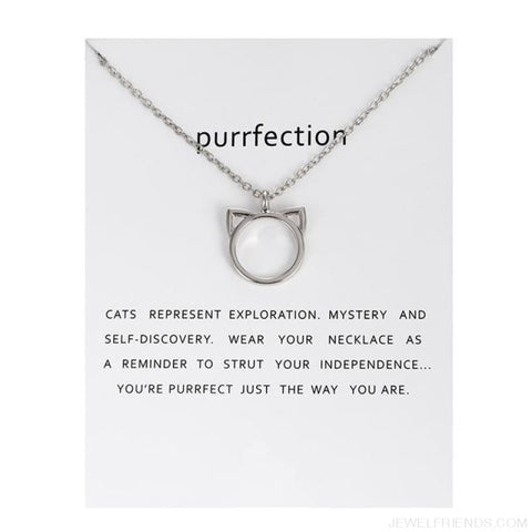Image of Purrfection Cat Shape Circle Necklace - Silver Have Card - Custom Made | Free Shipping