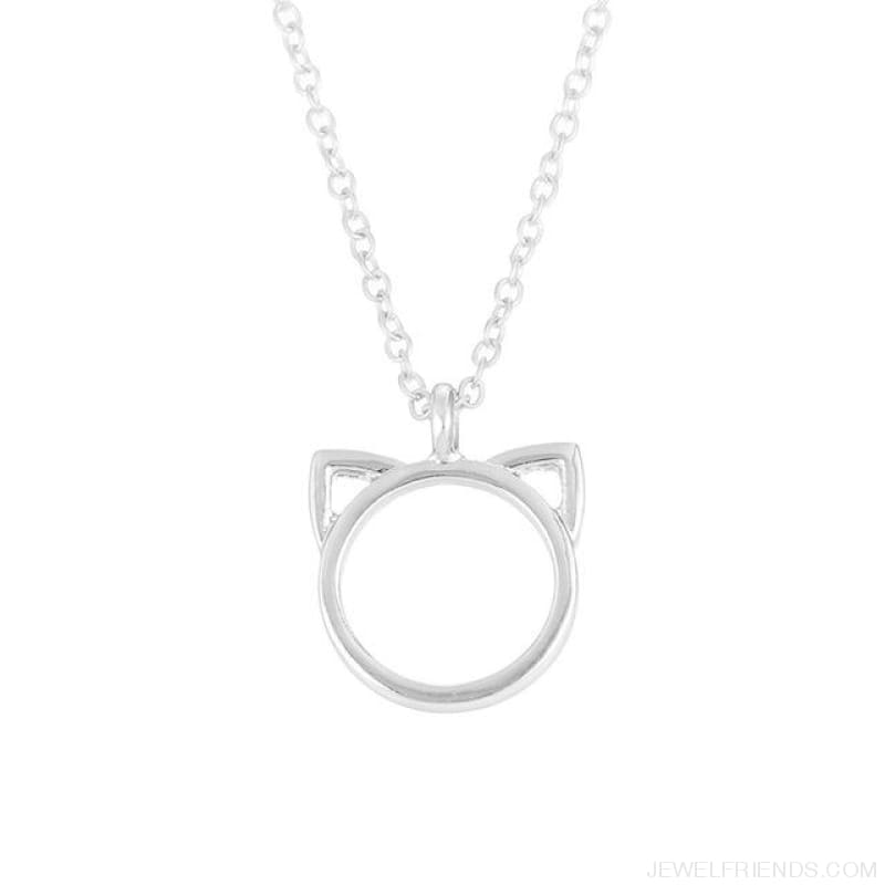 Purrfection Cat Shape Circle Necklace - Silver No Card - Custom Made | Free Shipping