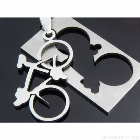 Quadrate Plate Bicycle Pendant Necklace - Custom Made | Free Shipping