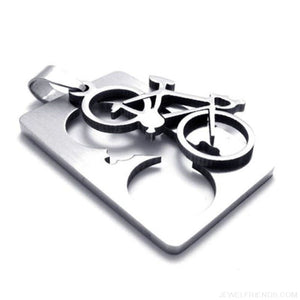 Quadrate Plate Bicycle Pendant Necklace