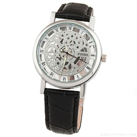 Image of Quartz Steel Casual Leather Skeleton Wristwatch - Bronze - Custom Made | Free Shipping