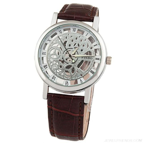 Quartz Steel Casual Leather Skeleton Wristwatch - Coffee - Custom Made | Free Shipping