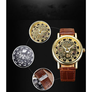 Quartz Steel Casual Leather Skeleton Wristwatch