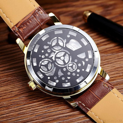Image of Quartz Steel Casual Leather Skeleton Wristwatch - Custom Made | Free Shipping