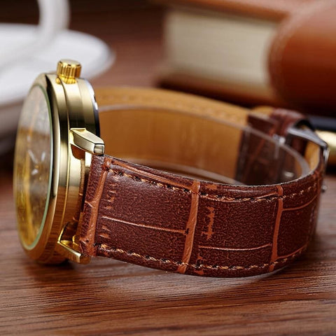 Quartz Steel Casual Leather Skeleton Wristwatch - Custom Made | Free Shipping