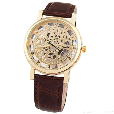 Quartz Steel Casual Leather Skeleton Wristwatch - Multicolor - Custom Made | Free Shipping