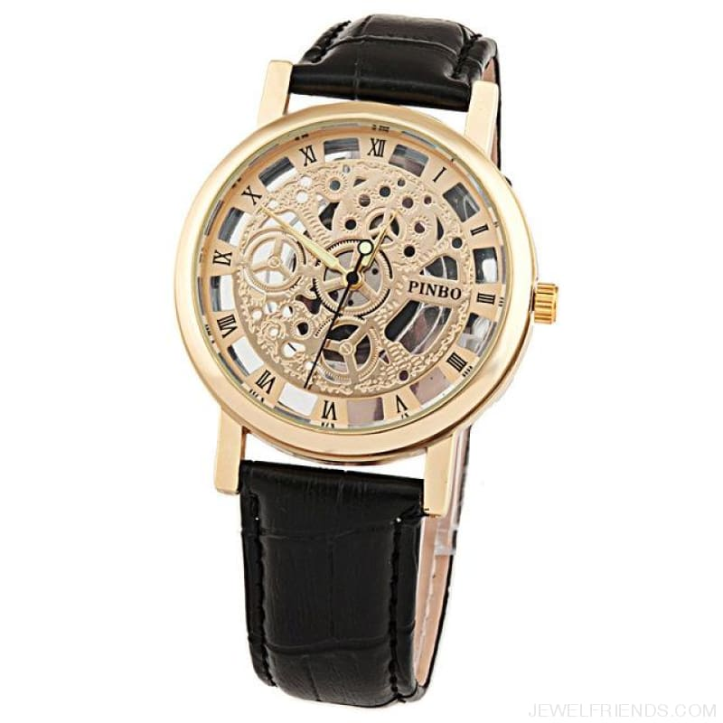 Quartz Steel Casual Leather Skeleton Wristwatch - Rose - Custom Made | Free Shipping