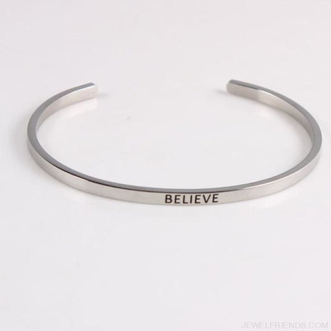 Quotes Mantra Bracelets 316L Stainless Steel Cuff Bracelet - Believe - Custom Made | Free Shipping