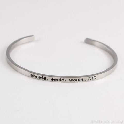 Quotes Mantra Bracelets 316L Stainless Steel Cuff Bracelet - Did - Custom Made | Free Shipping