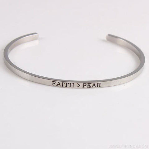 Quotes Mantra Bracelets 316L Stainless Steel Cuff Bracelet - Faith Fear - Custom Made | Free Shipping
