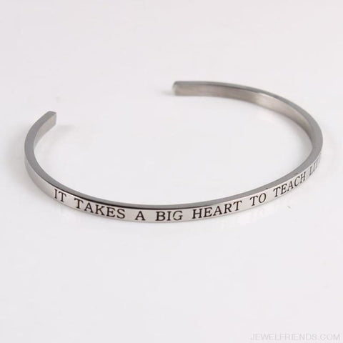 Quotes Mantra Bracelets 316L Stainless Steel Cuff Bracelet - It Takes A Bigger He - Custom Made | Free Shipping