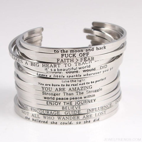 Image of Quotes Mantra Bracelets 316L Stainless Steel Cuff Bracelet - Custom Made | Free Shipping