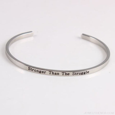 Quotes Mantra Bracelets 316L Stainless Steel Cuff Bracelet - Stronger Than The - Custom Made | Free Shipping