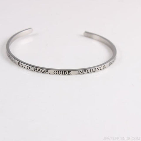 Quotes Mantra Bracelets 316L Stainless Steel Cuff Bracelet - Teach - Custom Made | Free Shipping