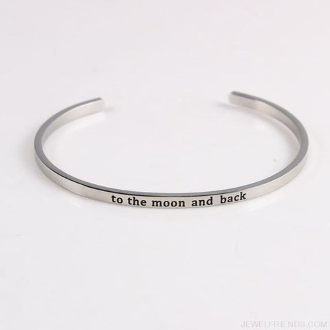 Quotes Mantra Bracelets 316L Stainless Steel Cuff Bracelet - To The Moon And Back - Custom Made | Free Shipping