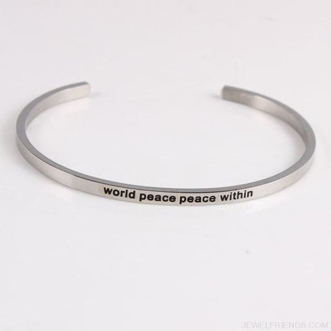 Quotes Mantra Bracelets 316L Stainless Steel Cuff Bracelet - World Peace Peace W - Custom Made | Free Shipping