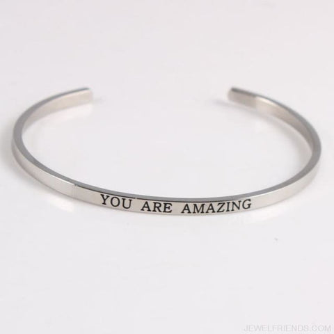 Quotes Mantra Bracelets 316L Stainless Steel Cuff Bracelet - You Are Amazing - Custom Made | Free Shipping