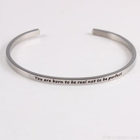 Image of Quotes Mantra Bracelets 316L Stainless Steel Cuff Bracelet - You Are Born To Be R - Custom Made | Free Shipping