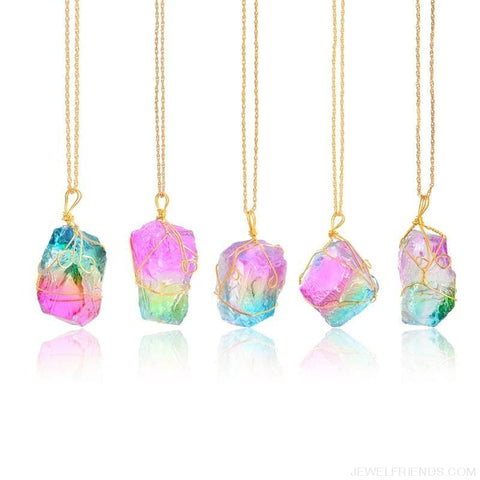 Image of Rainbow Natural Stone Chakra Rock Necklace - Custom Made | Free Shipping
