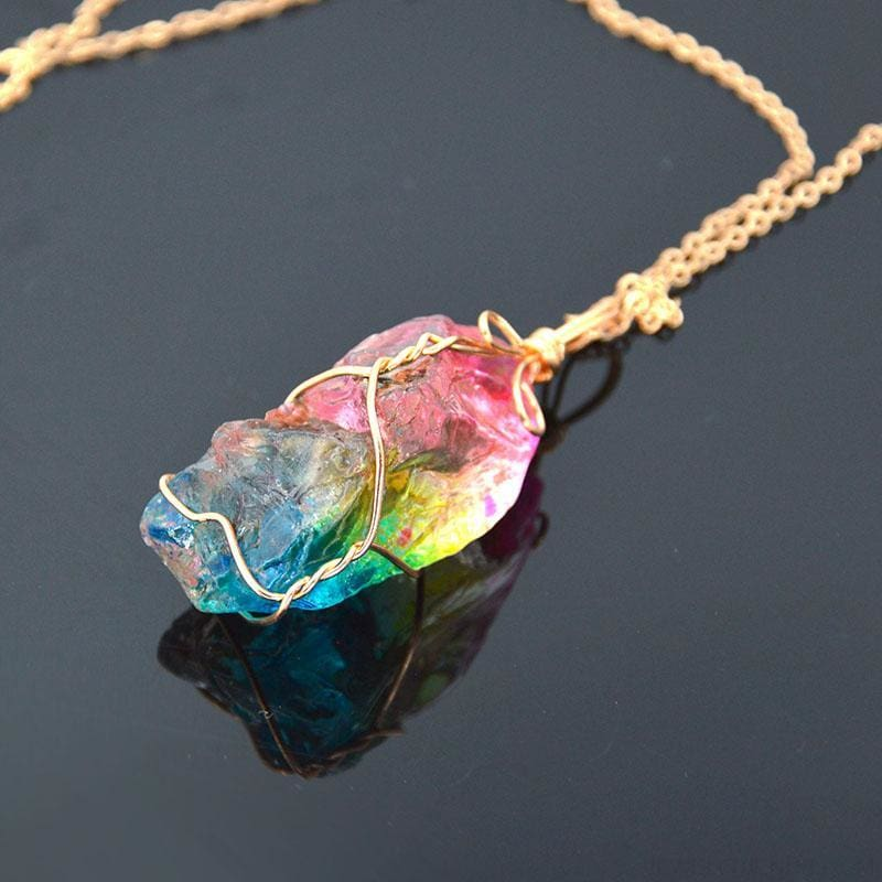 Rainbow Natural Stone Chakra Rock Necklace - Custom Made | Free Shipping