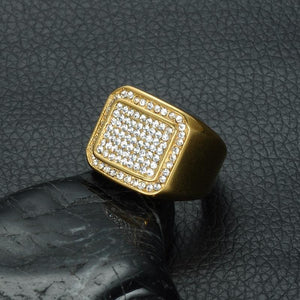 Rhinestone Iced Out Bling Square Ring