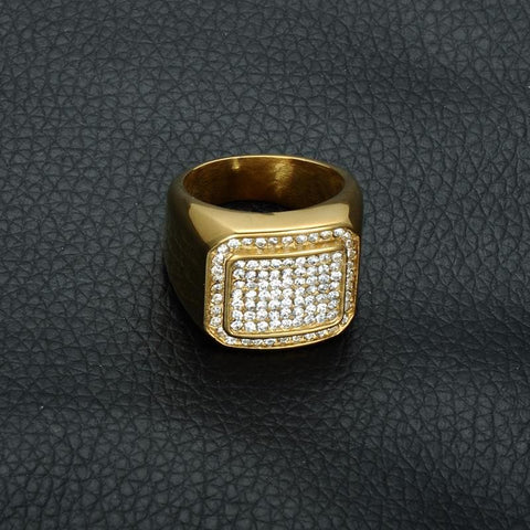Rhinestone Iced Out Bling Square Ring - Custom Made | Free Shipping