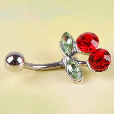 Image of Rhinestone Red Cherry Nave Piercing - Custom Made | Free Shipping