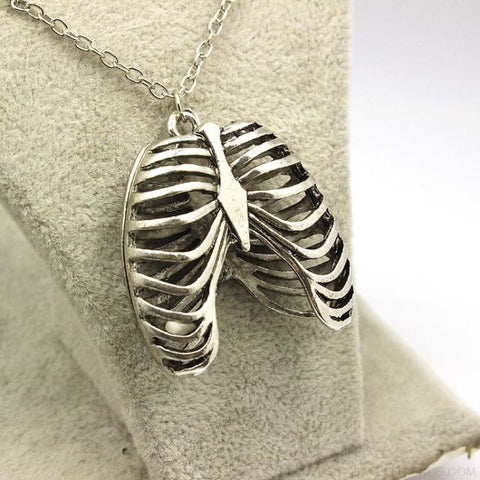 Image of Ribcage Ribs Anatomical Pendant Necklace - Custom Made | Free Shipping