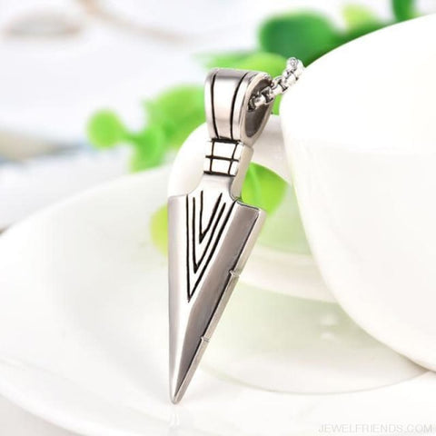 Image of Rock Arrow Long Chain Pendant Necklaces - Silvery - Custom Made | Free Shipping