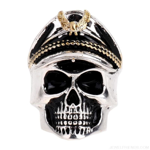 Rock Vintage Captain Skull Head Ring - Custom Made | Free Shipping
