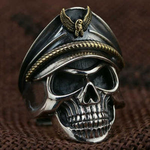 Rock Vintage Captain Skull Head Ring