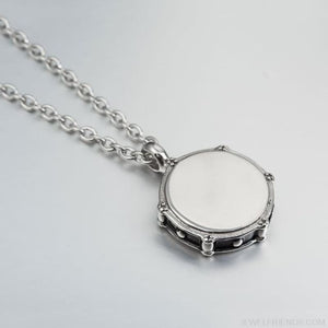 Rockers Jazz Drum & Drumsticks 316L Stainless Steel Necklace - Imitation Rhodium Plated - Custom Made | Free Shipping