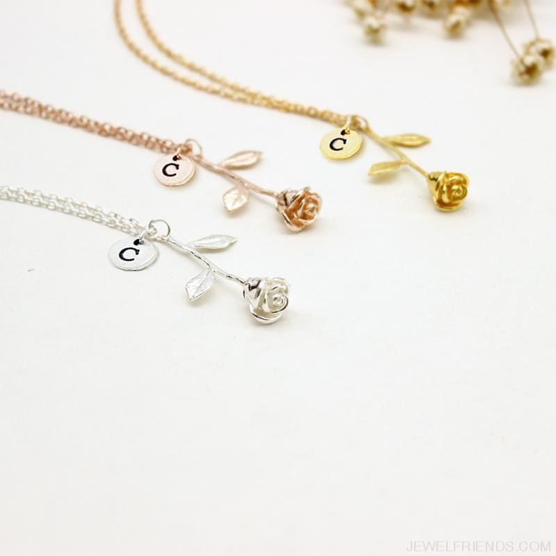 9c3ae1a57 Rose Engrave Letters Discs Necklaces - Custom Made | Free Shipping. Hover  to zoom