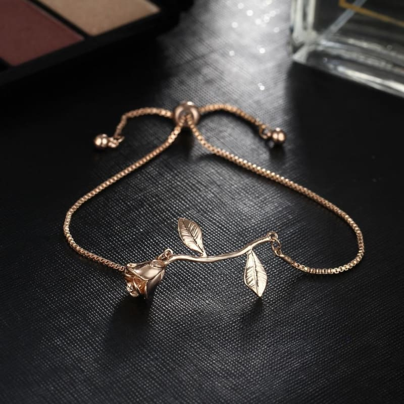 Rose Flower Charm Adjustable Bangle Bracelet - Bjcs56900 - Custom Made | Free Shipping