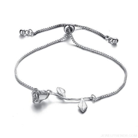 Rose Flower Charm Adjustable Bangle Bracelet - Bjcs56925 - Custom Made | Free Shipping