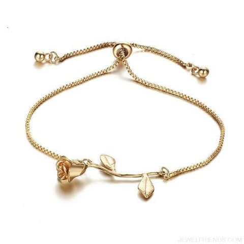 Rose Flower Charm Adjustable Bangle Bracelet - Bjcs56951 - Custom Made | Free Shipping