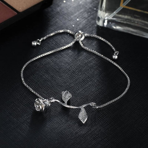 Rose Flower Charm Adjustable Bangle Bracelet - Custom Made | Free Shipping