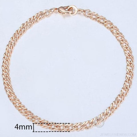 Rose Gold Bismark Link Chain Bracelet - Cb03 / 8Inch 20Cm - Custom Made | Free Shipping