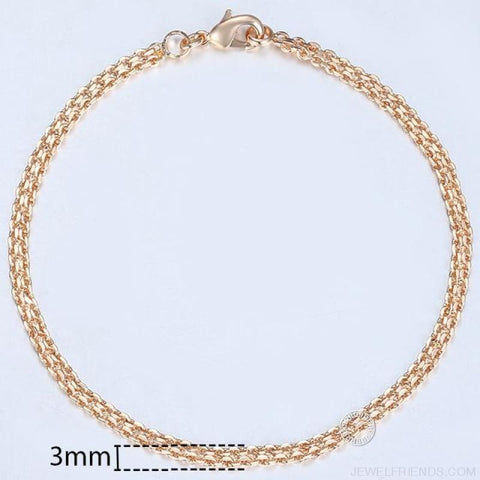 Image of Rose Gold Bismark Link Chain Bracelet - Cb04 / 8Inch 20Cm - Custom Made | Free Shipping
