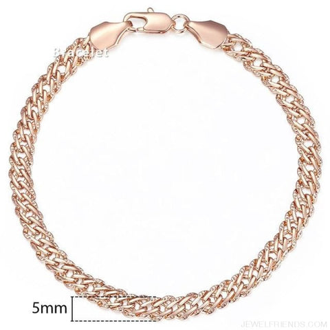 Rose Gold Bismark Link Chain Bracelet - Gb428 / 7Inch 17.5Cm - Custom Made | Free Shipping