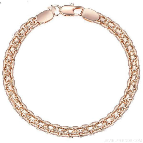 Rose Gold Bismark Link Chain Bracelet - Custom Made | Free Shipping