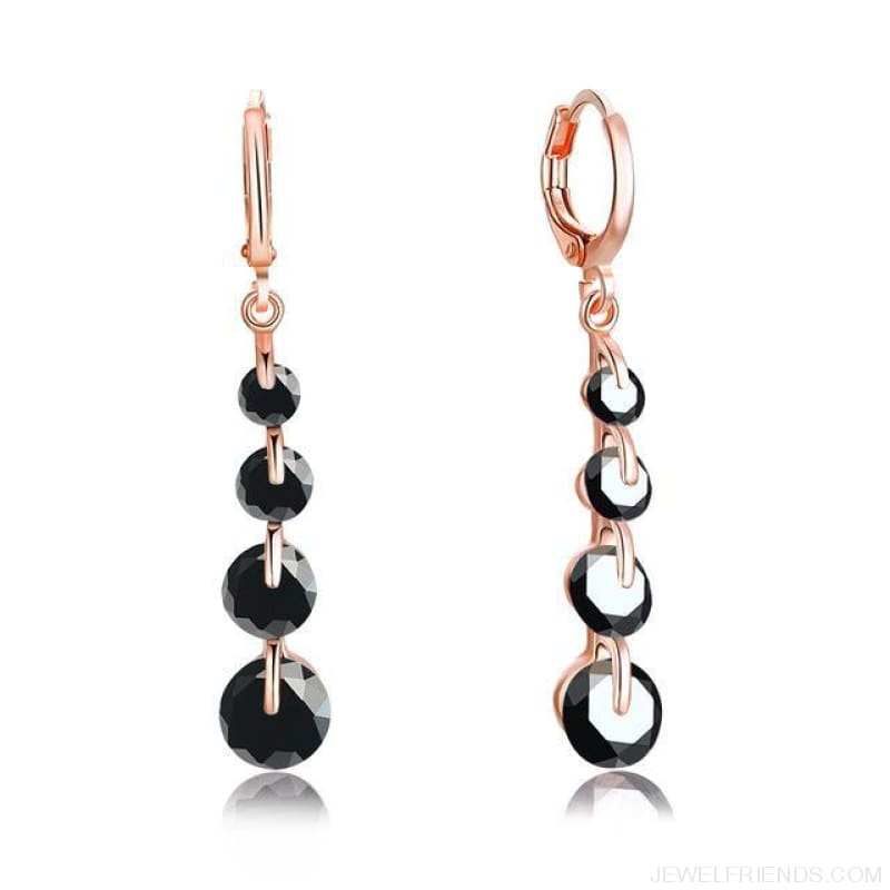 Rose Gold Color Drop Zirconia Earrings - 1 - Custom Made | Free Shipping