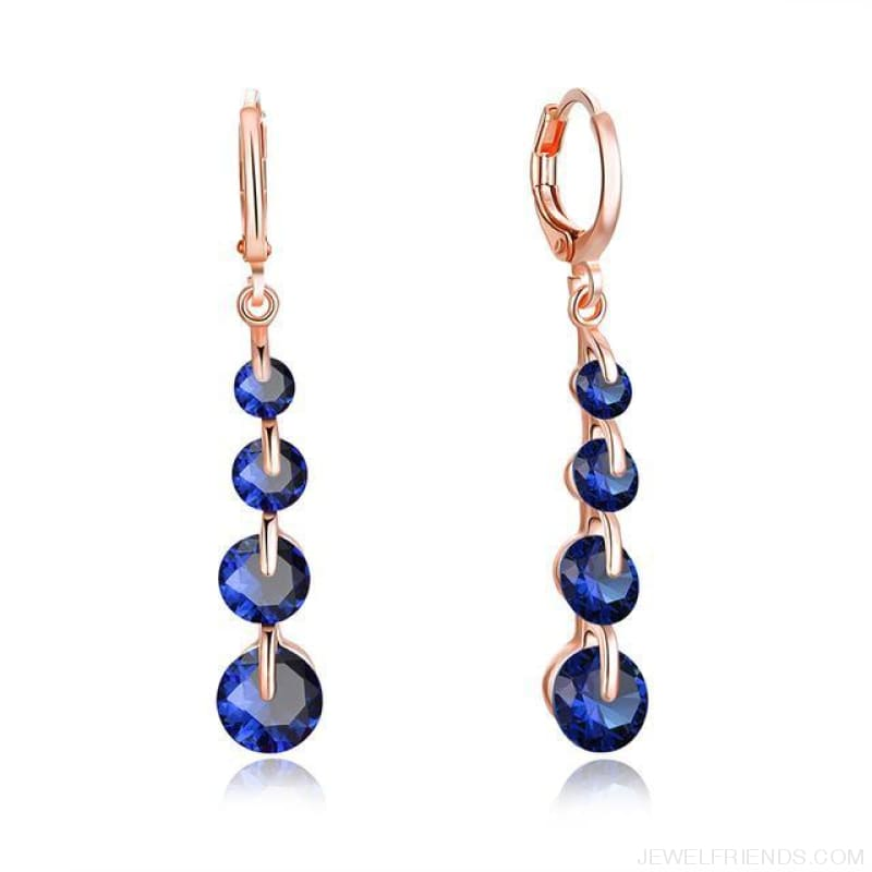 Rose Gold Color Drop Zirconia Earrings - 3 - Custom Made | Free Shipping