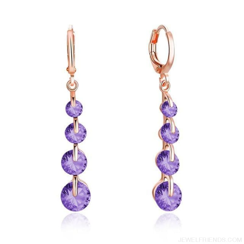 Rose Gold Color Drop Zirconia Earrings - 5 - Custom Made | Free Shipping