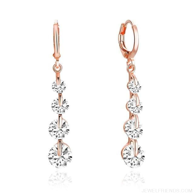 Rose Gold Color Drop Zirconia Earrings - 6 - Custom Made | Free Shipping