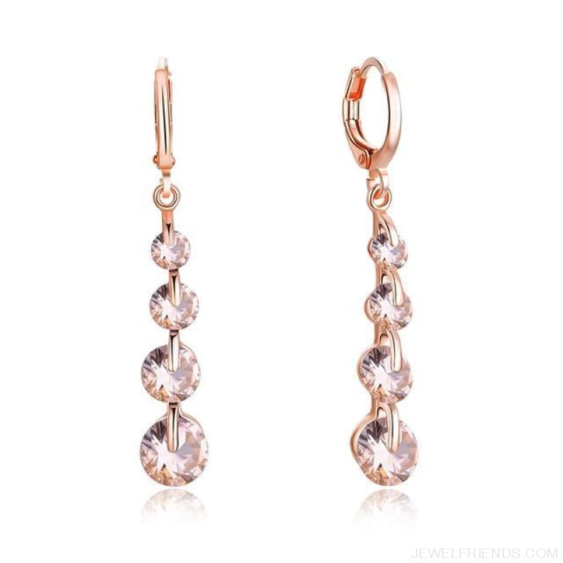 Rose Gold Color Drop Zirconia Earrings - 7 - Custom Made | Free Shipping