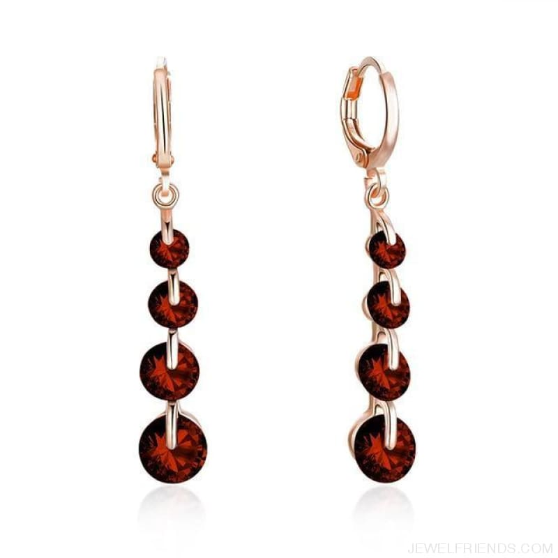 Rose Gold Color Drop Zirconia Earrings - 8 - Custom Made | Free Shipping
